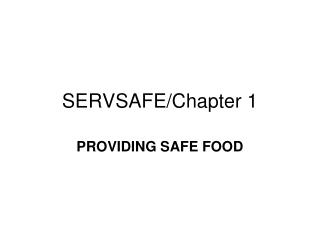 SERVSAFE/Chapter 1