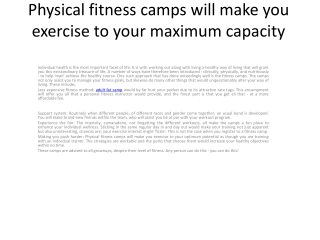 weight loss camp