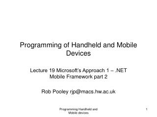 Programming Handheld and Mobile devices