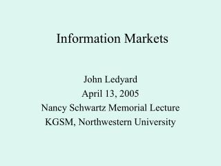 Information Markets