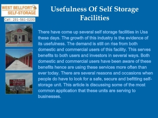 Usefulness Of Moving Storage Houston