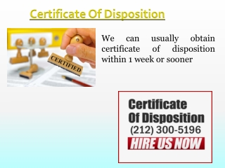 What is A Certificate Of Disposition