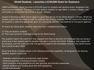 Ghotit Dyslexia - Launches a $100,000 Grant for Dyslexics