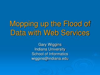 Mopping up the Flood of Data with Web Services