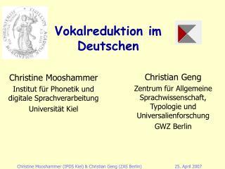 Vokalreduktion im Deutschen