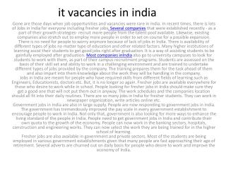 it vacancies in india