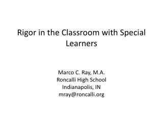 Rigor in the Classroom with Special Learners