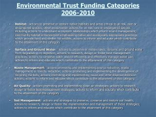Environmental Trust Funding Categories