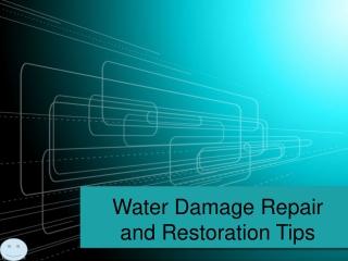 Water Damage Repair and Restoration Tips