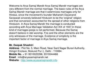 Arya Samaj Marriage, Love Marriage, Aryasamajmandir.info