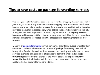 Tips to save costs on package-forwarding services