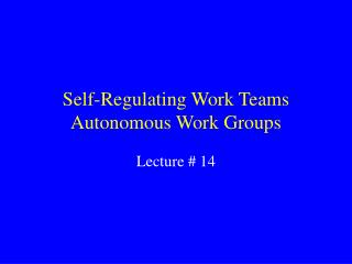 Self-Regulating Work Teams
