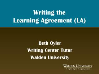 Writing the  Learning Agreement LA