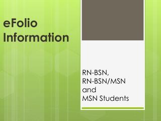 eFolio Information