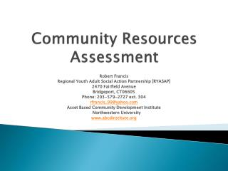 Community Resources Assessment