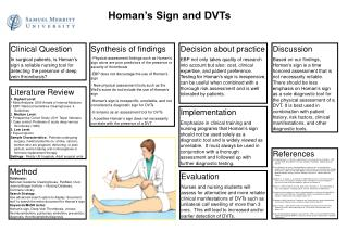 Homan's Sign and DVTs