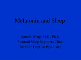 Melatonin and Sleep