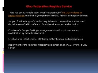 Gluu Federation Registry Service