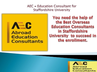 Education Consultant for Staffordshire University !