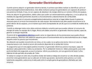 Generador Electricobarato