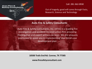 Industrial Fire Investigation