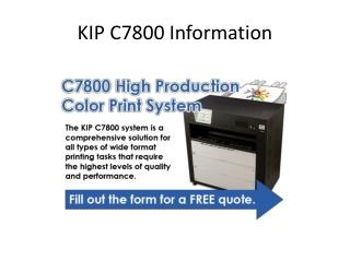 KIP C7800 Information