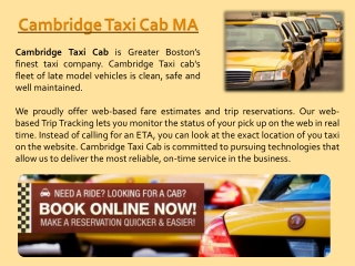Taxi Cab Cambridge Call Us At 617-649-7000