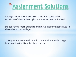 Assignment solutions