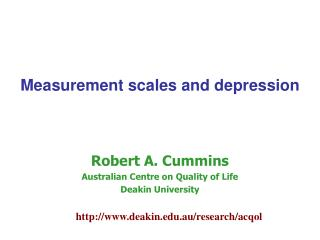 Measurement scales and depression