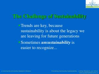 The Challenge of Sustainability