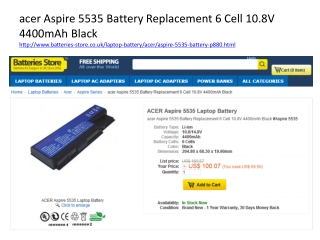 acer Aspire 5535 Battery Replacement 6 Cell 10.8V 4400mAh Bl