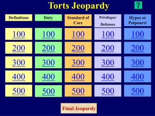Torts Jeopardy