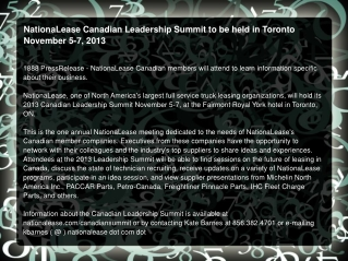 NationaLease Canadian Leadership Summit to be held