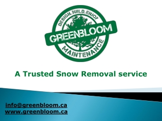 A Trusted Snow Removal service