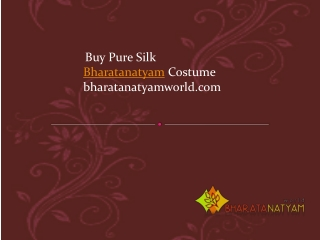 Buy Pure Silk Bharatanatyam Costume