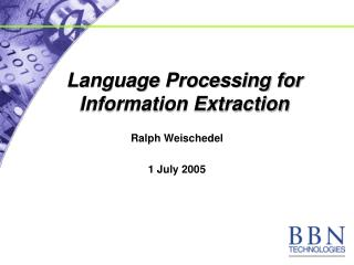 Language Processing for Information Extraction