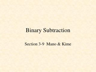Binary Subtraction
