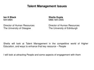 Talent Management Issues