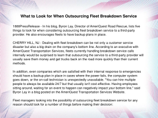 What to Look for When Outsourcing Fleet Breakdown Service