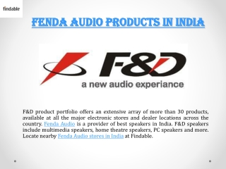 Fenda Audio Stores in India