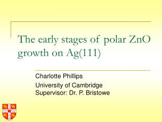 The early stages of polar ZnO growth on Ag(111)