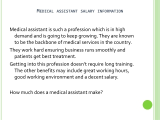 Medical Assistant Salary Information