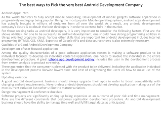 The best ways to Pick the very best Android Development Comp
