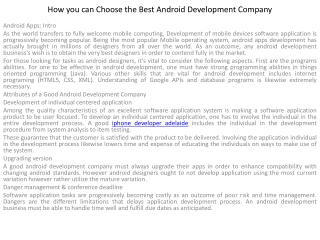 How you can Choose the Best Android Development