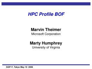 HPC Profile BOF