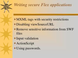 Writing secure Flex applications