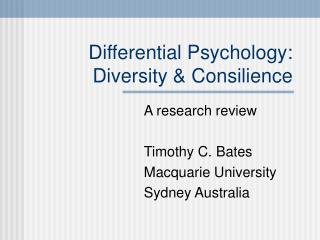 Differential Psychology: Diversity