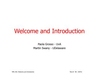 NML-WG: Welcome and Introduction