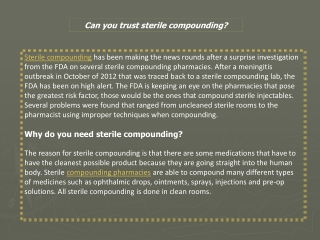 Can you trust sterile compounding?