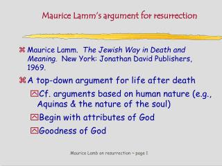Maurice Lamb on resurrection ~ page 1